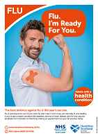 Health condition? Flu. I´m ready for you. (Poster)