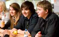 Young people with healthy food